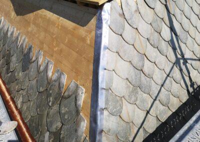 Dachsanierung Eindeckung mit bestehenden Naturschiefer Dornach