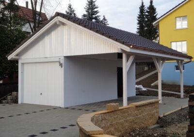 Neubau Fertiggarage mit Carport und Ziegeldach Aesch